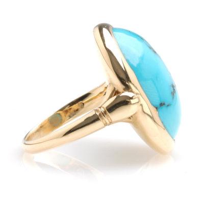 Geelgouden ring turkoois zij