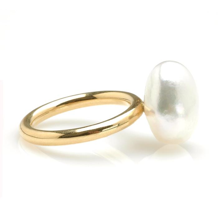 Geelgouden ring Zuidzee parel zij