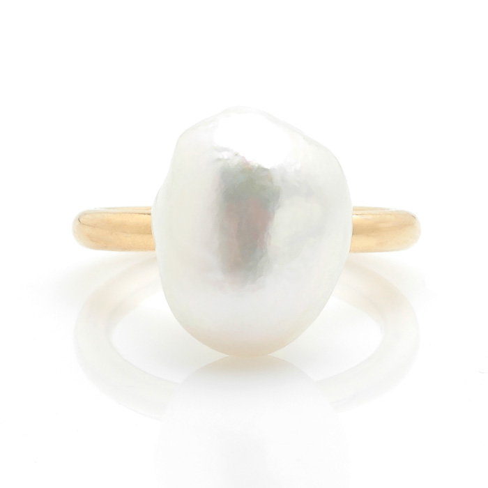 Geelgouden ring Zuidzee parel voor