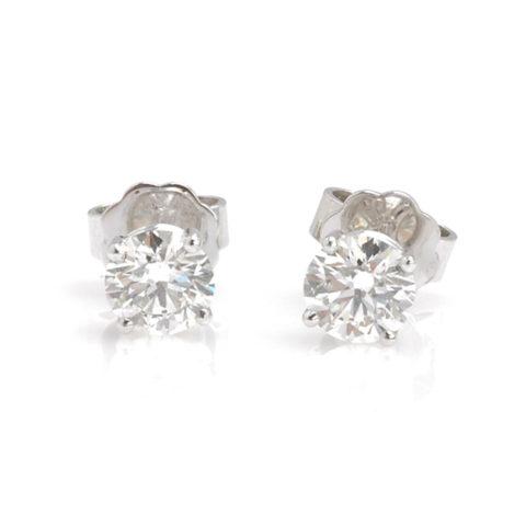Witgouden solitair oorstekers diamant voor