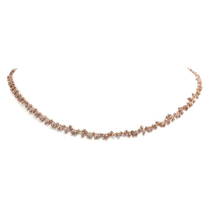 Fijn roségouden collier met bruine diamanten voor