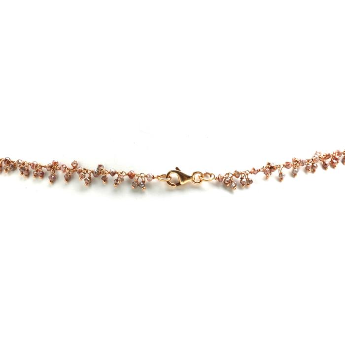 Fijn roségouden collier met bruine diamanten achter