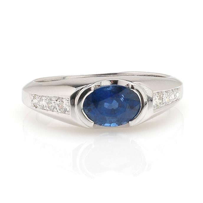 Witgouden ring saffier voor