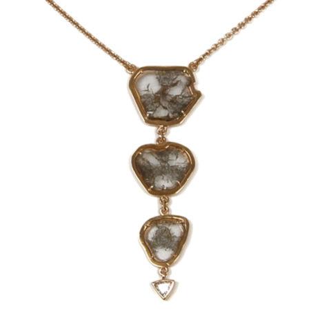 Geelgouden hanger plakjes diamant detail