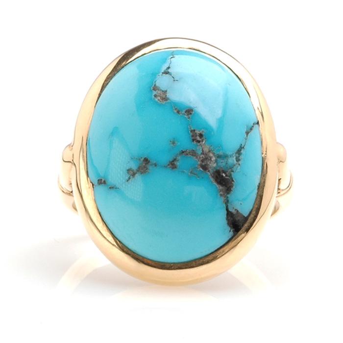Geelgouden ring turkoois voor