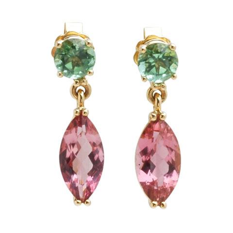 Geelgouden oorbellen roze en groene toermalijn voor