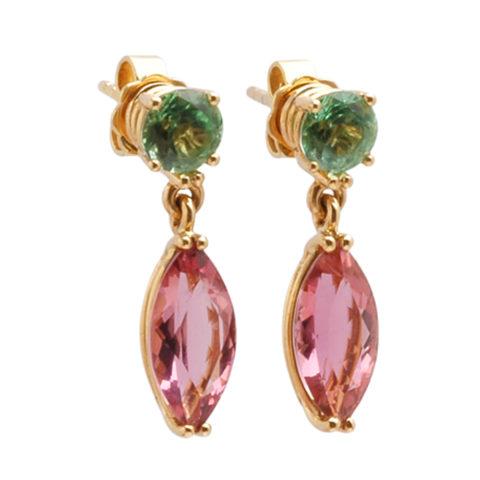 Geelgouden oorbellen roze en groene toermalijn schuin