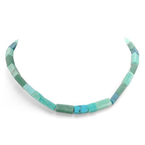 Blauw/groen collier rechthoekig voor