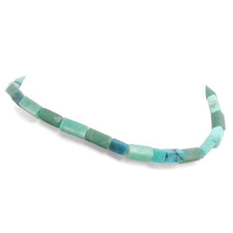 Blauw/groen collier rechthoekig schuin