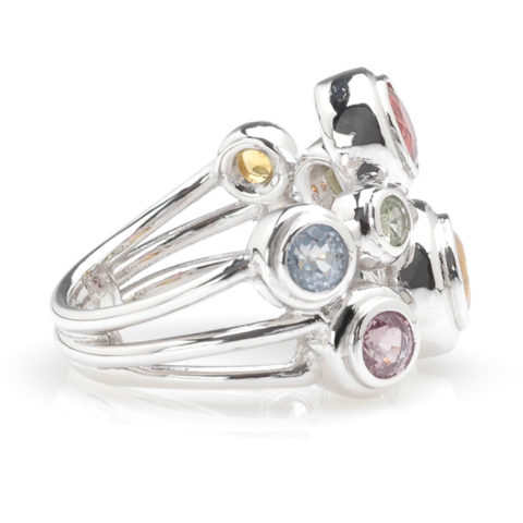 Witgouden ring multicolor saffier zij
