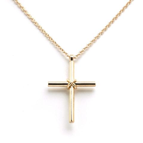 Geelgouden collier kruisje voor detail