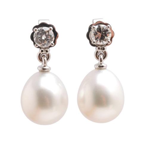 Witgouden oorbellen diamant en Zuidzee parel voor