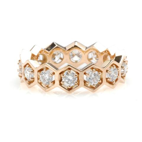 Geelgouden 6-hoek alliance diamant voor
