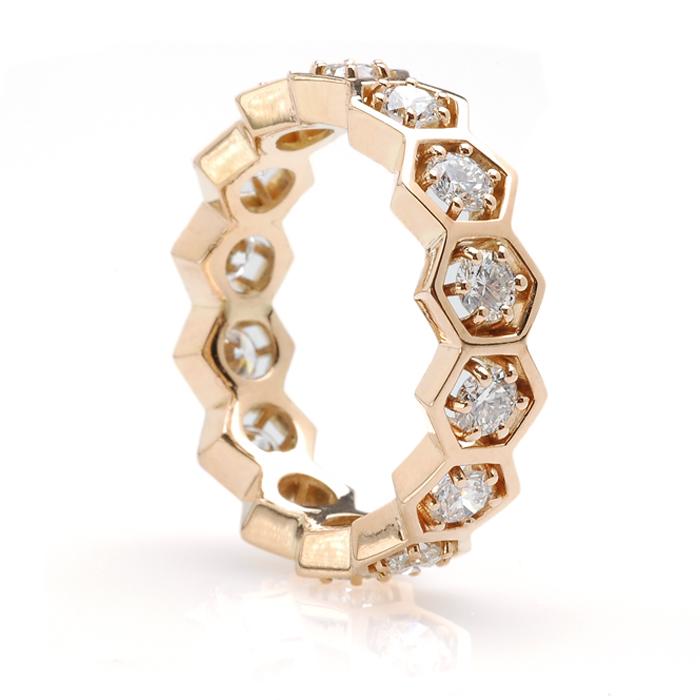 Geelgouden 6-hoek alliance diamant schuin