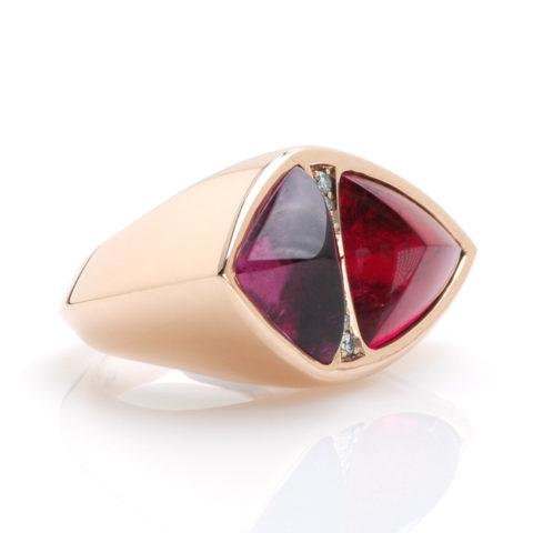 Ring rubelliet diamant schuin