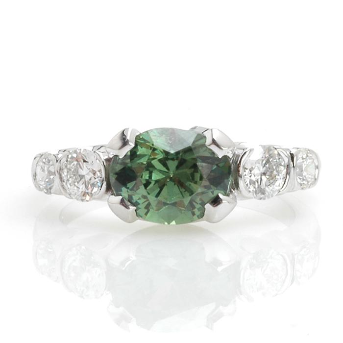Witgouden ring demantoïd diamant voor