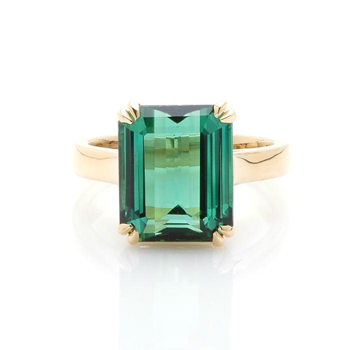 Geelgouden ring groene toermalijn voor