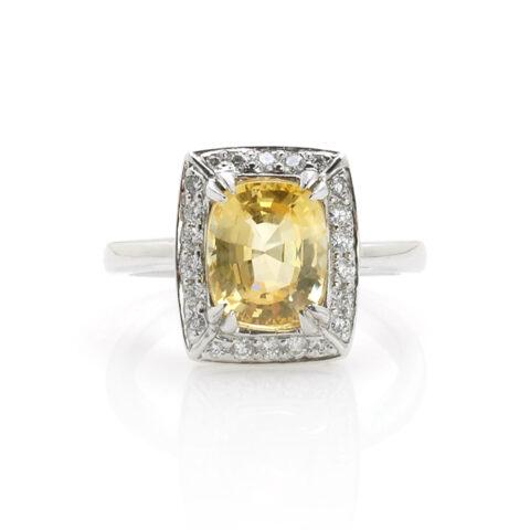 Ring gele saffier voor