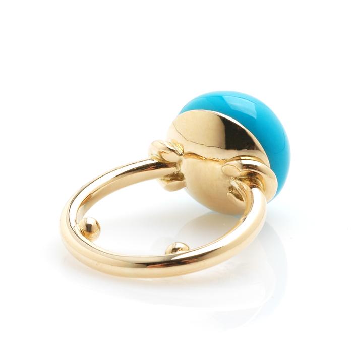 Geelgouden ring turkoois achter