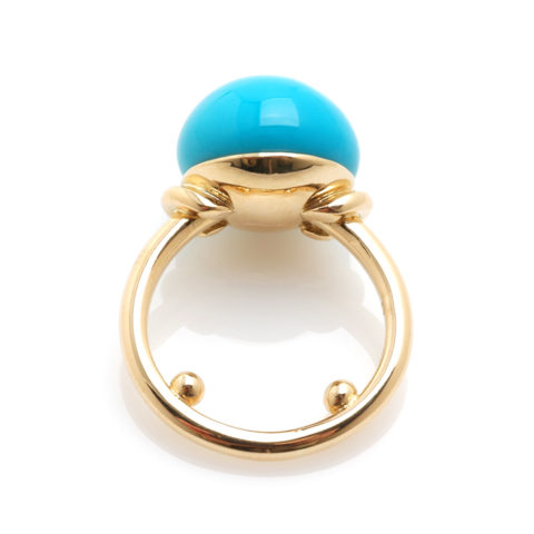Geelgouden ring turkoois boven