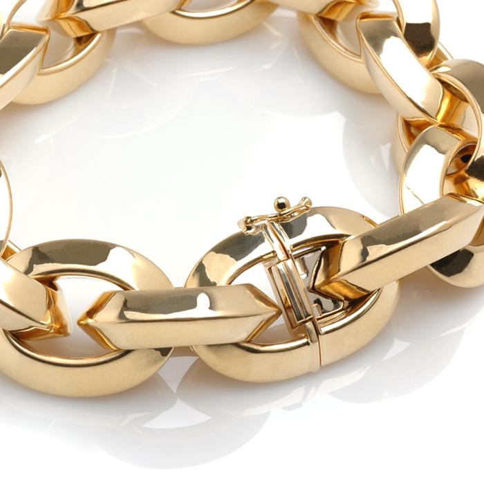 Roségouden armband grof detail